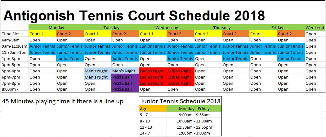2018 tennis court schedule
