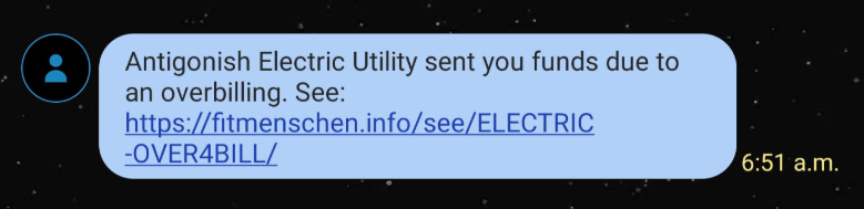 Scam sample text message with unknown link.