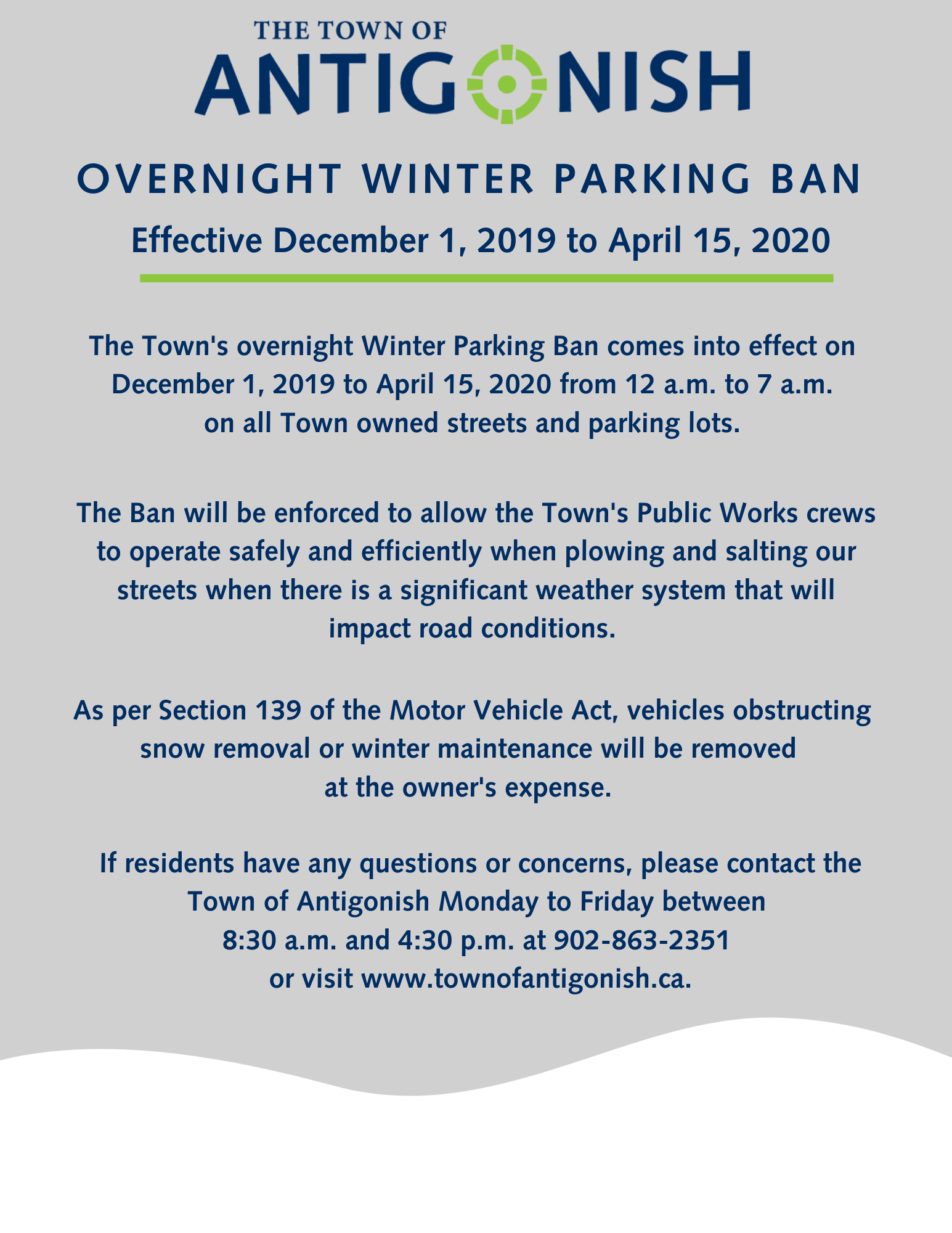 Winter parking ban poster. Same text as above.
